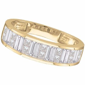 14kt Yellow Gold Women's Princess Baguette Channel-set Diamond Wedding Band 1-2 Cttw - FREE Shipping (US/CAN) - Size 8
