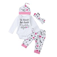 "Baby Girl ""I'm Adorable""  Long Sleeve Bodysuit, Hat, Headband & Pant Set"