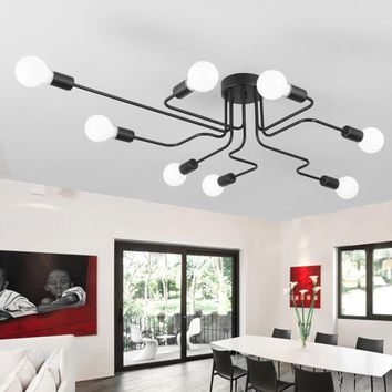 Home Lighting Luminaire Multiple Rod Wrought Iron Ceiling Lamp