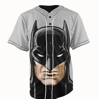 Batman Gray & Black Button Up Baseball Jersey