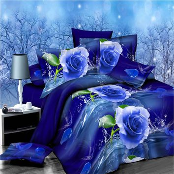 Customized 3D Bedding Set Blue Rose Linens set Queen size Printing Quilt Duvet Cover set Bed Sheet Set