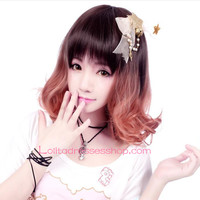 Lolita Light Brown Short Slightly Curly Maid Cute Cosplay Wig