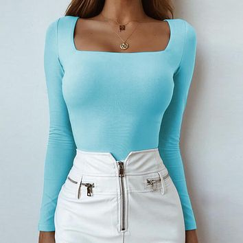New Fashion Sexy Long Sleeve T-shirt Bottom Top Women's Wear Light Blue