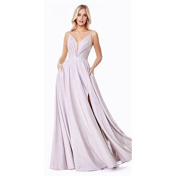 Champagne Metallic Long A-Line Prom Dress with Slit