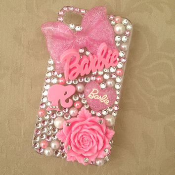 Pink Barbie Nicki Minaj Sparkly Swarovski Bling iPhone 4/4s & 5 Protective Cell Phone Case Cover