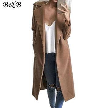 Winter Coat Female Extra Long Wide Trench Coat Women 2016 New Warm Wool European Gray Khaki S M L XL ZB003