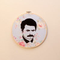 """8"""" Ron Swanson Embroidery Hoop Art"""