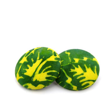 Bright Green and Yellow Fabric Earrings // Comfortable Jewelry // Gifts under 25 // Lightweight Earrings