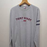 25% SALES ALERT Vintage 90's Tommy Hilfiger Sport Long Sleeve T Shirt Street Wear Swag Top Tee Urban Fashion Size L