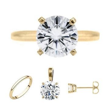 FAB Round Moissanite 4 Prong Ring Complete 14K Yellow Gold Solitaire Wedding Set