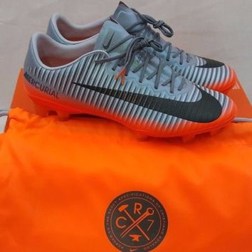 Nike Mens Mercurial Vapor XI CR7 FG Soccer Cleats Grey Metallic 852514 001 Sz 8