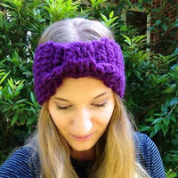 Charity Item, Cinched Crochet Headband, Purple Ear Warmer, 50% Cancer Donation