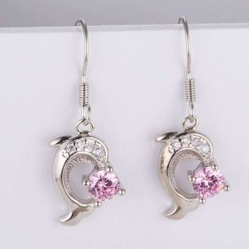 Pink Crystal Dolphin Earrings