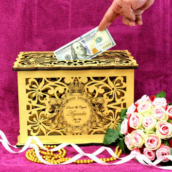 WEDDING MONEY BOX, Gold Custom Wedding Card Box, Savings box, Wedding Card Holder, Gold Box Wooden Money Box, Wedding Keepsake Box, Lace Box