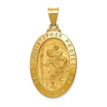14K Yellow Gold Polished and Satin St. Christopher Medal Pendant