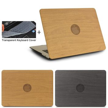 2017 fashion WOOD GRAIN PU Leather Laptop Cases for apple MacBook Air 11 13 for MAC Pro Retina 12 13.3 15 inch + keyboard cover