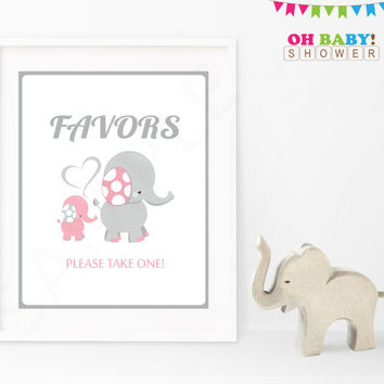 Favors Baby Shower Sign Pink and Gray Elephant Pink Elephant Baby Shower Decorations Printable Girl Instant Download Baby Decor EL0005-lp