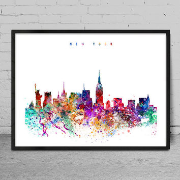 New York Watercolor Print, USA watercolor Art, Wall art,New York Skyline, Cities Art, Wall Art, typography art, New York Decor-x12