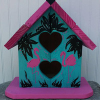 Flamingo Birdhouse ~ Outdoor Redwood~ Tropical Yard Art~ Unique Garden Decor~ Bird House for Sale~ Summer Outdoors~ Pink Flamingo Gifts
