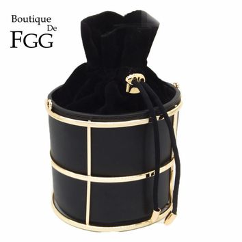 Boutique De FGG Women Black PU Bucket Fashion Day Clutches Evening Party Dinner Handbag Metal Chain Shoulder & Crossbody Bag