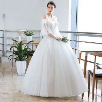 Unique Sleeve Design Ball Gown Wedding Dress Pearls Beading Wedding Gown Bridal Gown