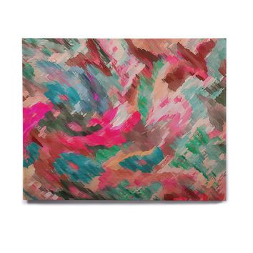 "Alison Coxon ""Giverny Pink"" Teal Peach Birchwood Wall Art"