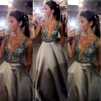 Bling Hand Make Crystal Beaded Prom Dresses 2016 Ballgown Sleeveless Deep V Neck Plunging Back Pleat Ruched Long Party Evening