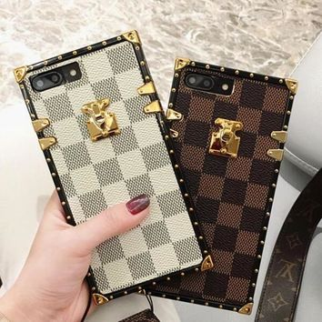 "Hot Sale ""Louis Vuitton"" LV 2018 !iPhone 7 iPhone 7 plus - Trending Grid Print Cute On Sale Hot Deal Matte Couple Phone Case For iphone 6 6s 6plus 6s plus(3-Color)"