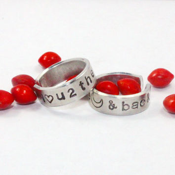 I Love You To The Moon and Back Ring, Hand Stamped Aluminum Love Ring, Lover, Friends Gift, BBF