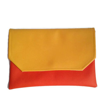 Colorblock envelope clutch, vegan clutch, yellow and orange, crossbody bag