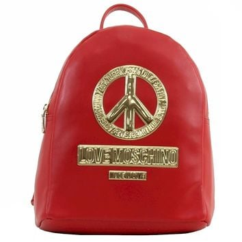Love Moschino Women's Peace Red Leather Book Bag Backpack (Size: 11 H x 10 L x 5 D Inches, Color: Red)