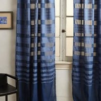 Ascending Stripes Curtain by Anthropologie Blue