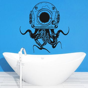 Scuba Octopus Wall Decal, Scuba Octopus Wall Sticker, Octopus Decal, Octopus Bathroom Wall Decor, Octopus Tentacles Sticker Wall Art  se037