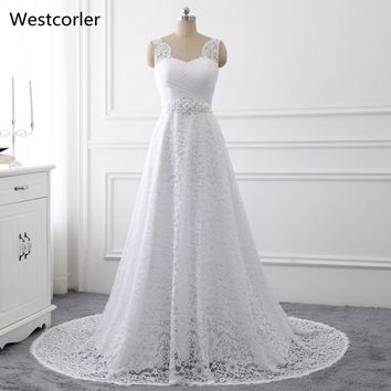 2017 Westcorler A-Line Lace Beach Wedding Dress Sleeveless Crystal Beaded White Bridal Gowns