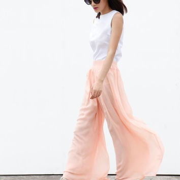 Fairy Casual Chiffon Wide leg Long Skirt Pants in Champagne - NC460