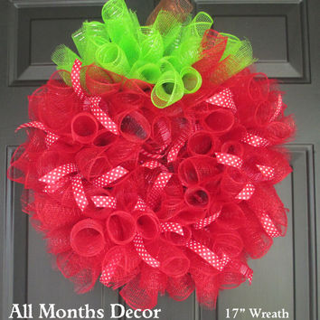 Apple Red Spiral Deco Mesh Wreath, Optional Polka Dot Ribbons, Teacher Appreciation Gifts, Classroom Decorations, Back To School