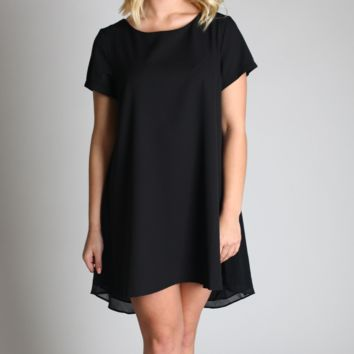 Umgee Black Short Sleeve A-Line Dress