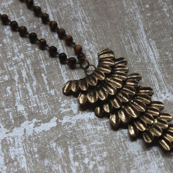 Beautiful Tigers Eye Bead Necklace -Vintage-Brass Feather Pendant-Articulated -POP VINTAGE