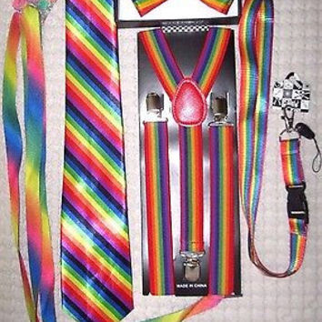Men's Rainbow Stripes Adjustable Bow tie,Neck Tie,Suspenders,Lanyard,Shoelaces11