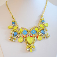 Statement Yellow Gemstone Necklace Bib Collar Necklace Neon Bubble Bib Necklace Choker Necklace Jewelry Prom Jewelry