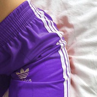 """Adidas""Classic Women Men Loose Exercise Sport Pants Trousers Sweatpants Purple"