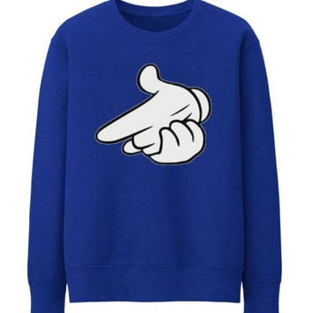 Air gun Drake OVO OWL Mickey Mouse hands Unisex Crewneck Sweatshirt Top Funny - BLUE