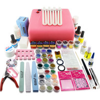 125Pc phototherapy 36W UV Lamp  Soild Color UV Gel Nail Art Tools Sets Kits