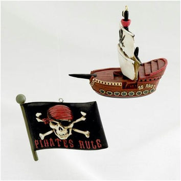 6 Christmas Ornaments - Pirate Ship