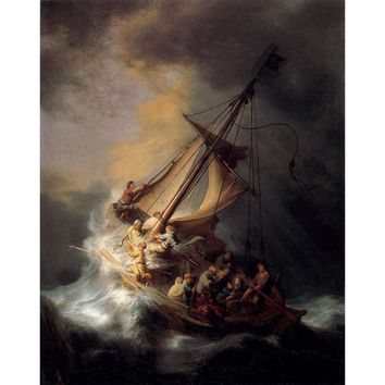 High quality handmade canvas oil painting old master  Rembrandt van Rijn The Storm on the Sea of Galilee, oil on canvas