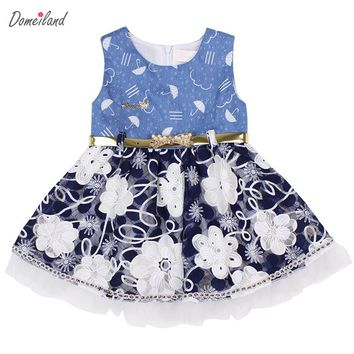 2017 summer brand domeiland newborn clothing cute bebe lace baby girls sleeveless party princes 1 year birthday dress clothes