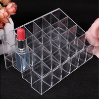 Clear 24 Lipstick Holders Display Stand Cosmetic Organizer Makeup Case