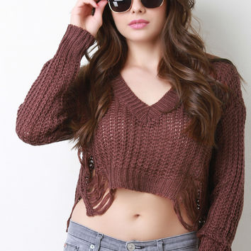 Distress Knit V-Neck Crop Sweater