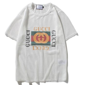 Gucci Women Reticulated Letters Print Shirt Tee T-shirt
