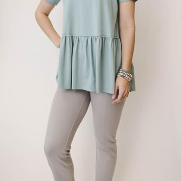 Suede Peplum Top - Blue
